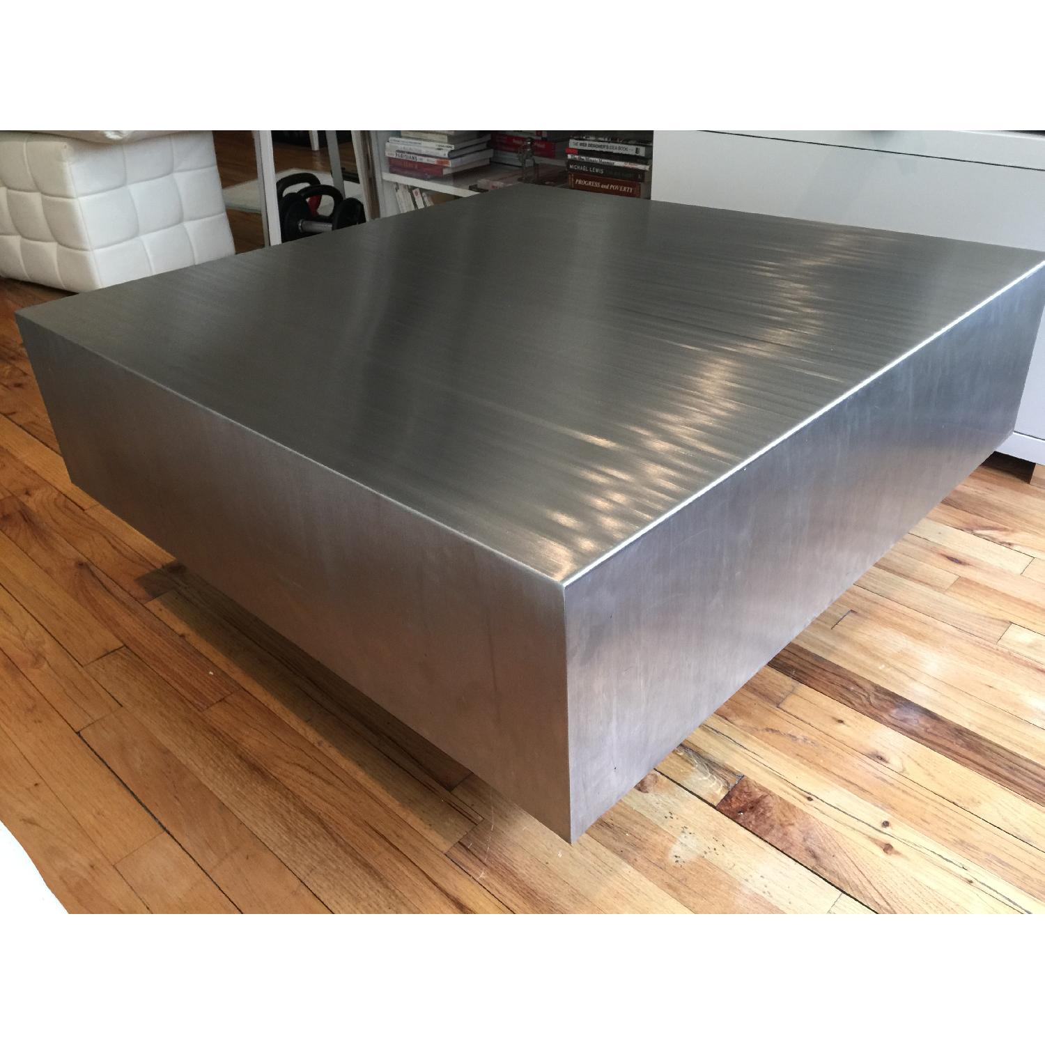 Industrial Brushed Stainless Steel Square Coffee Table - image-4