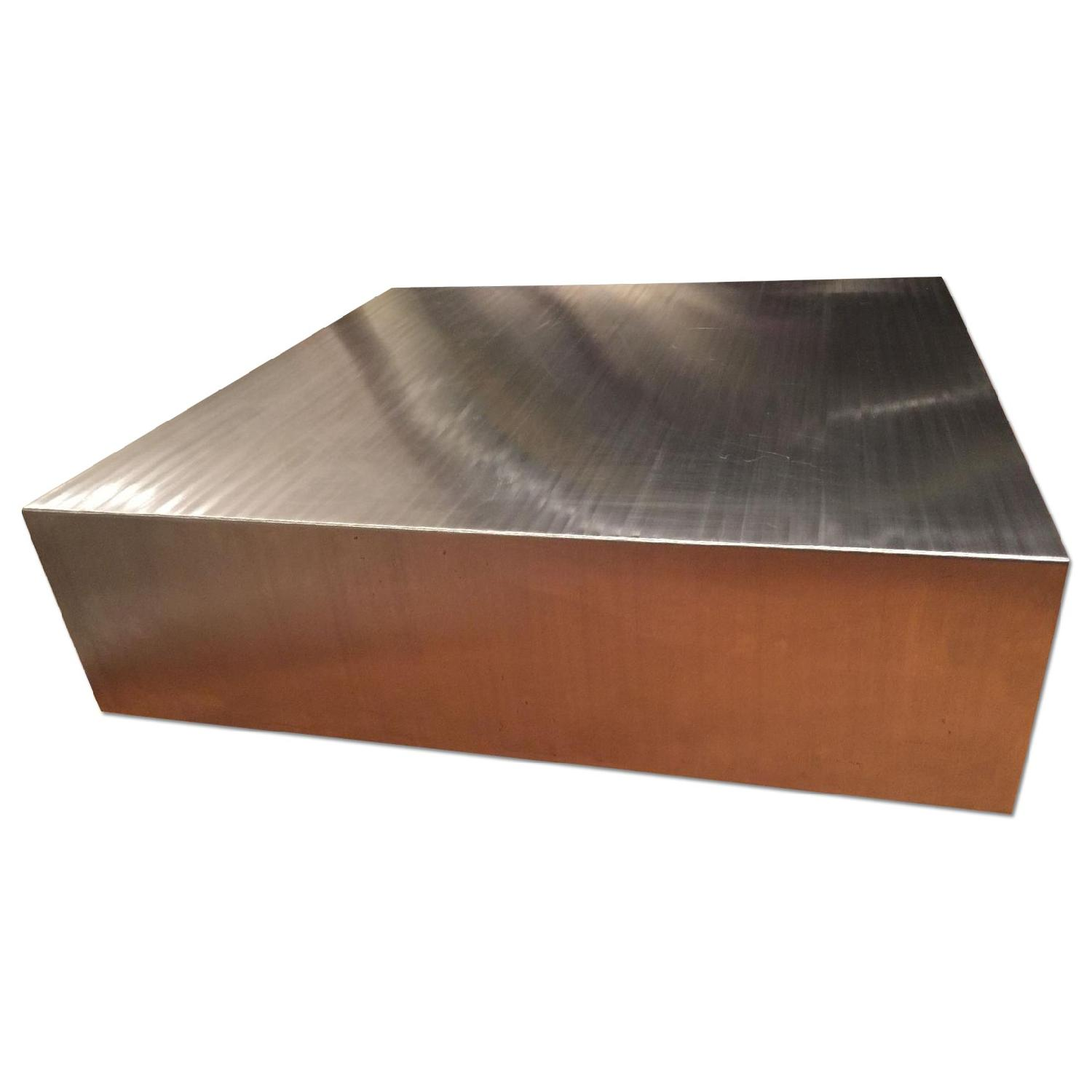 Industrial Brushed Stainless Steel Square Coffee Table - image-5