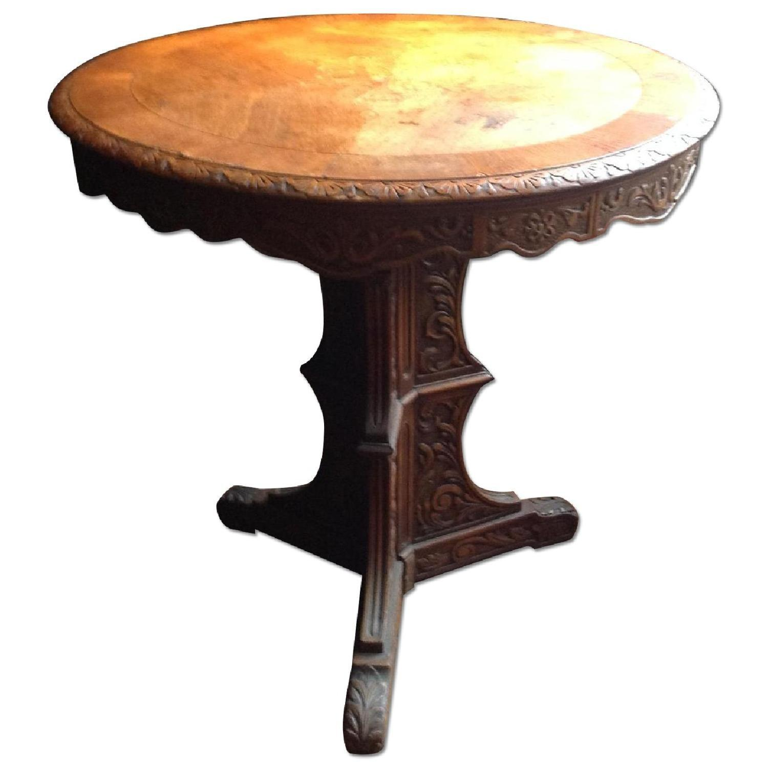 Italian Vintage Carved Wood Baroque Style Round Side Table - image-0