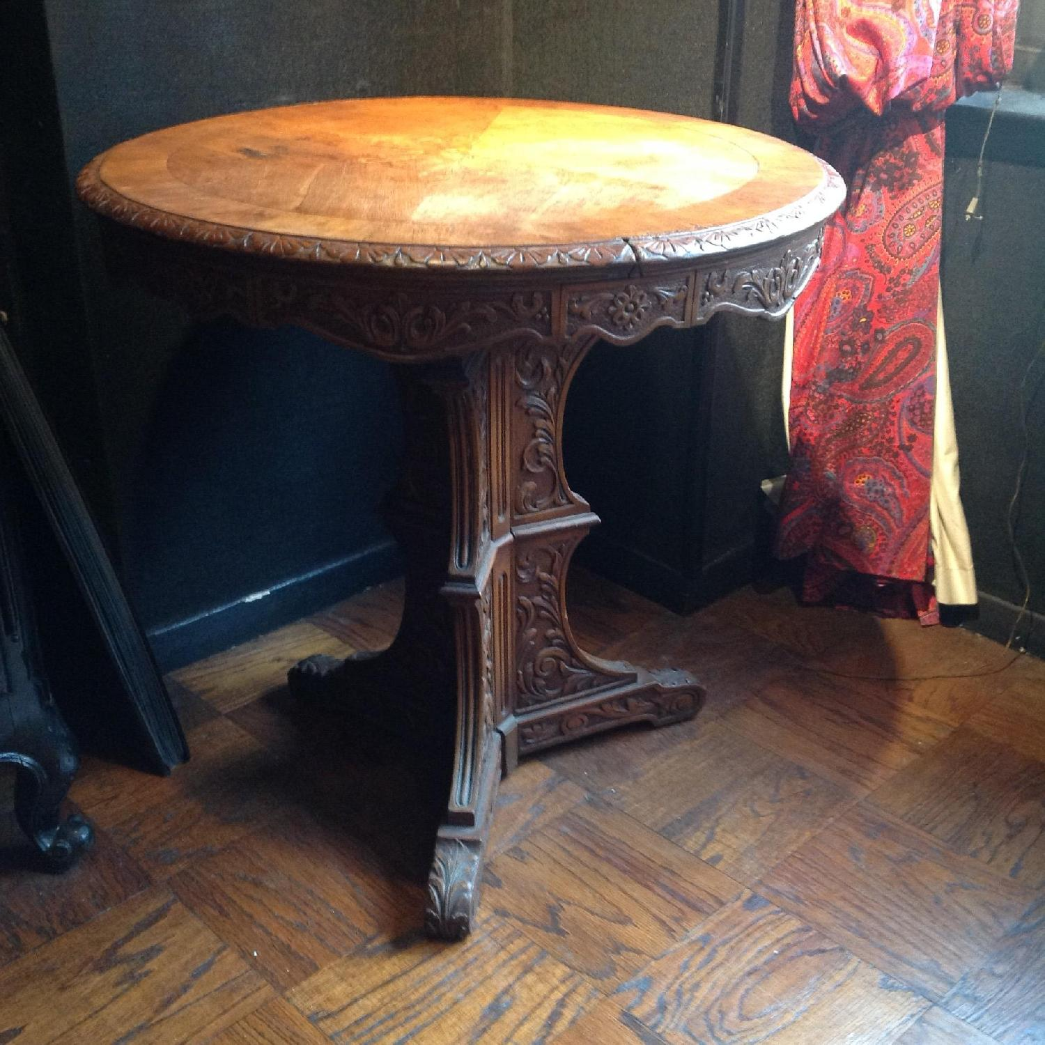 Italian Vintage Carved Wood Baroque Style Round Side Table - image-1
