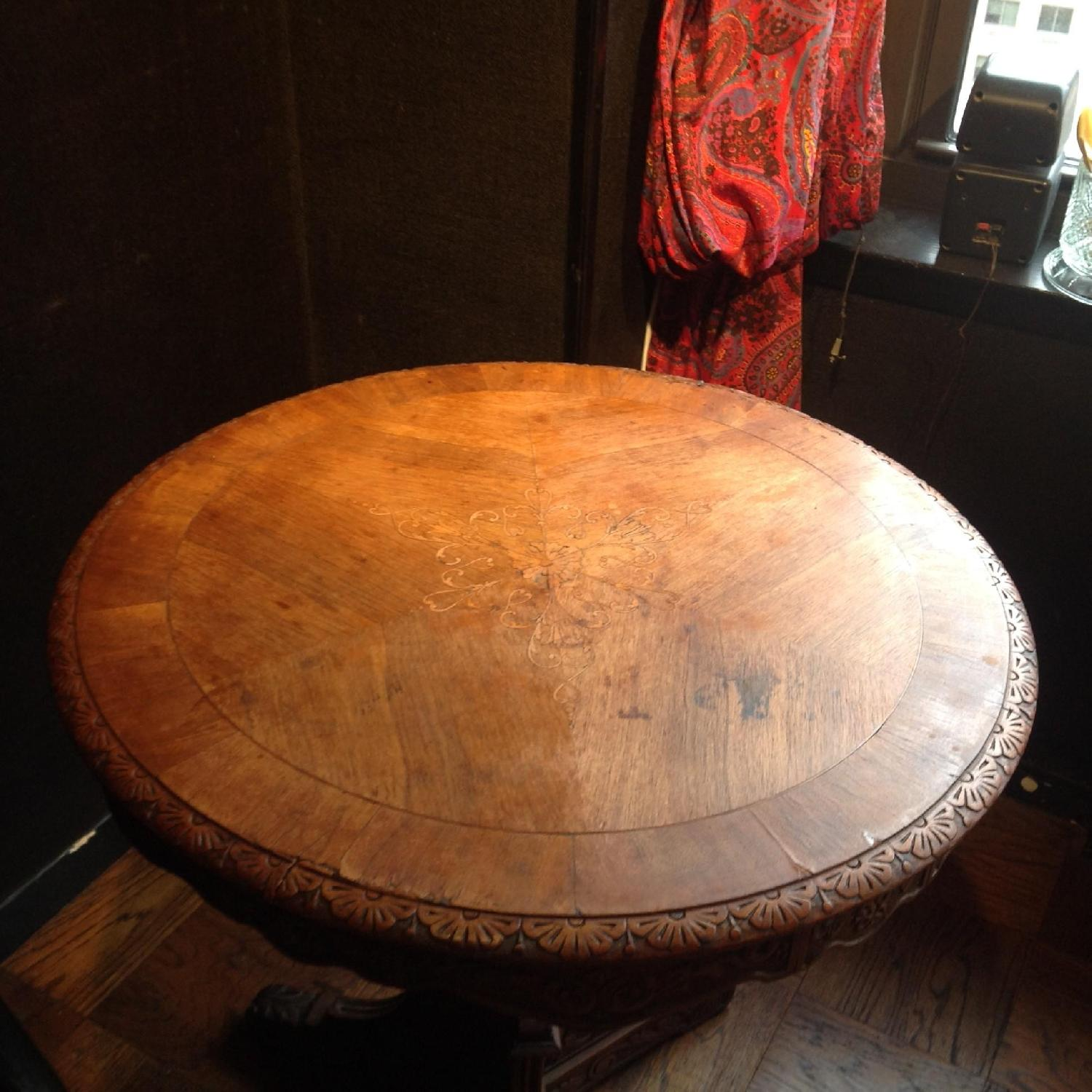 Italian Vintage Carved Wood Baroque Style Round Side Table - image-3