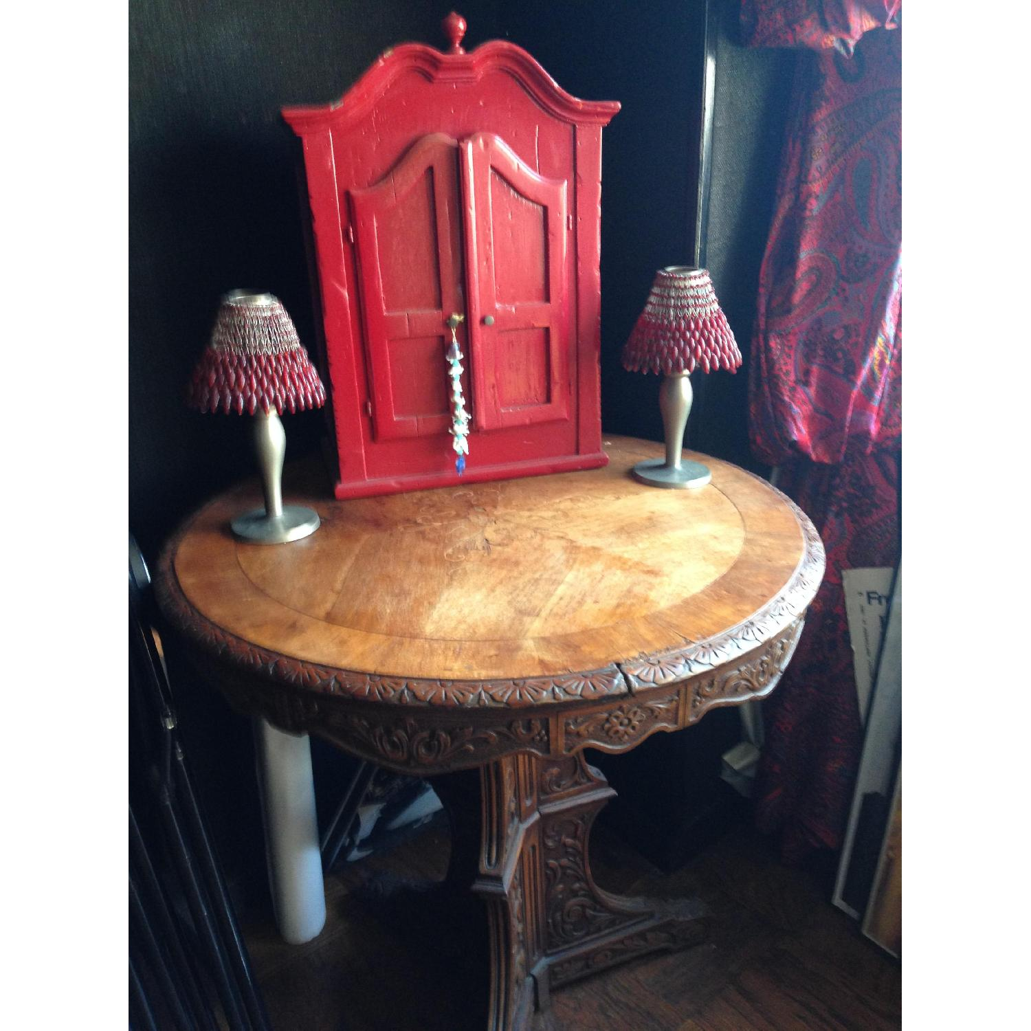 Italian Vintage Carved Wood Baroque Style Round Side Table - image-6