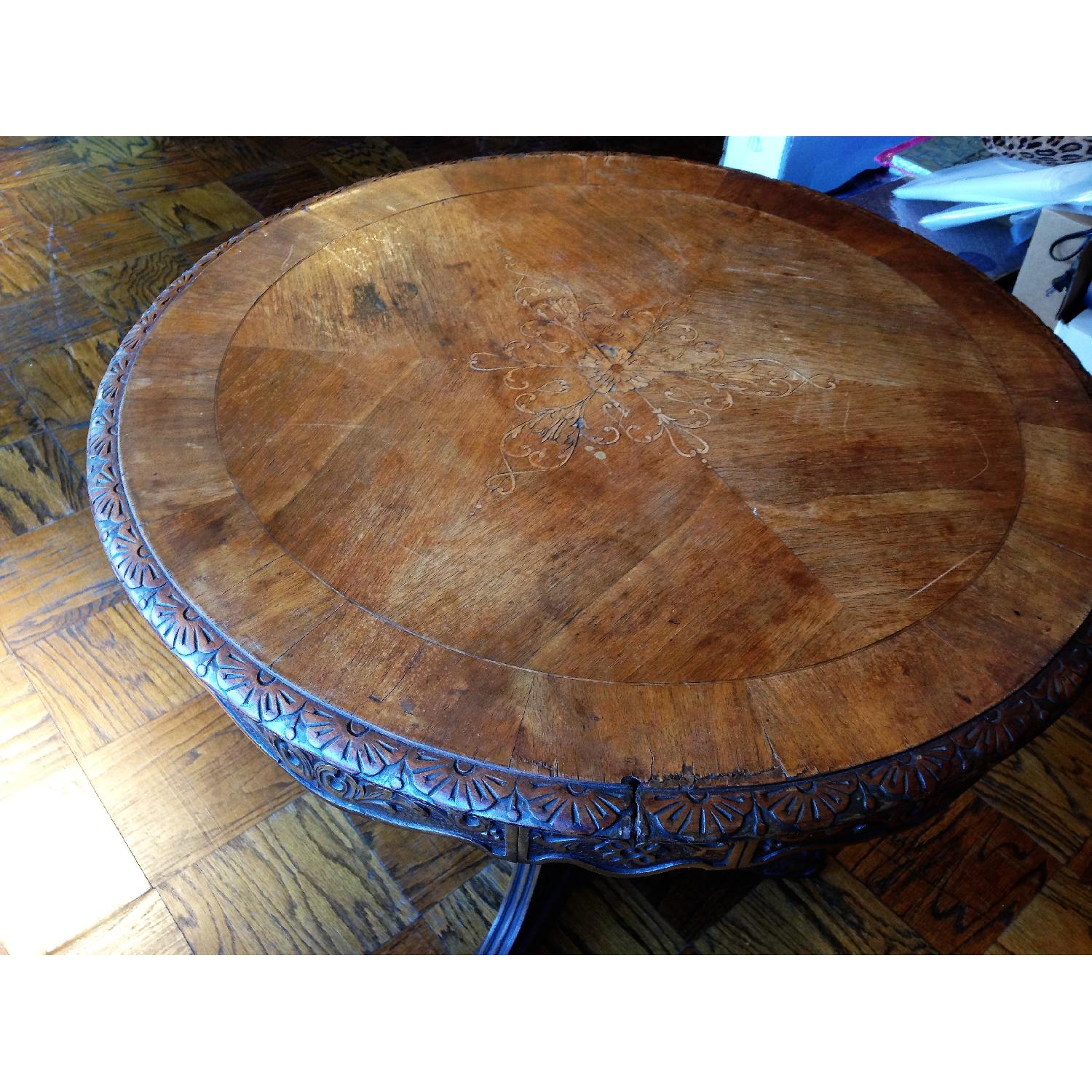 Italian Vintage Carved Wood Baroque Style Round Side Table - image-9