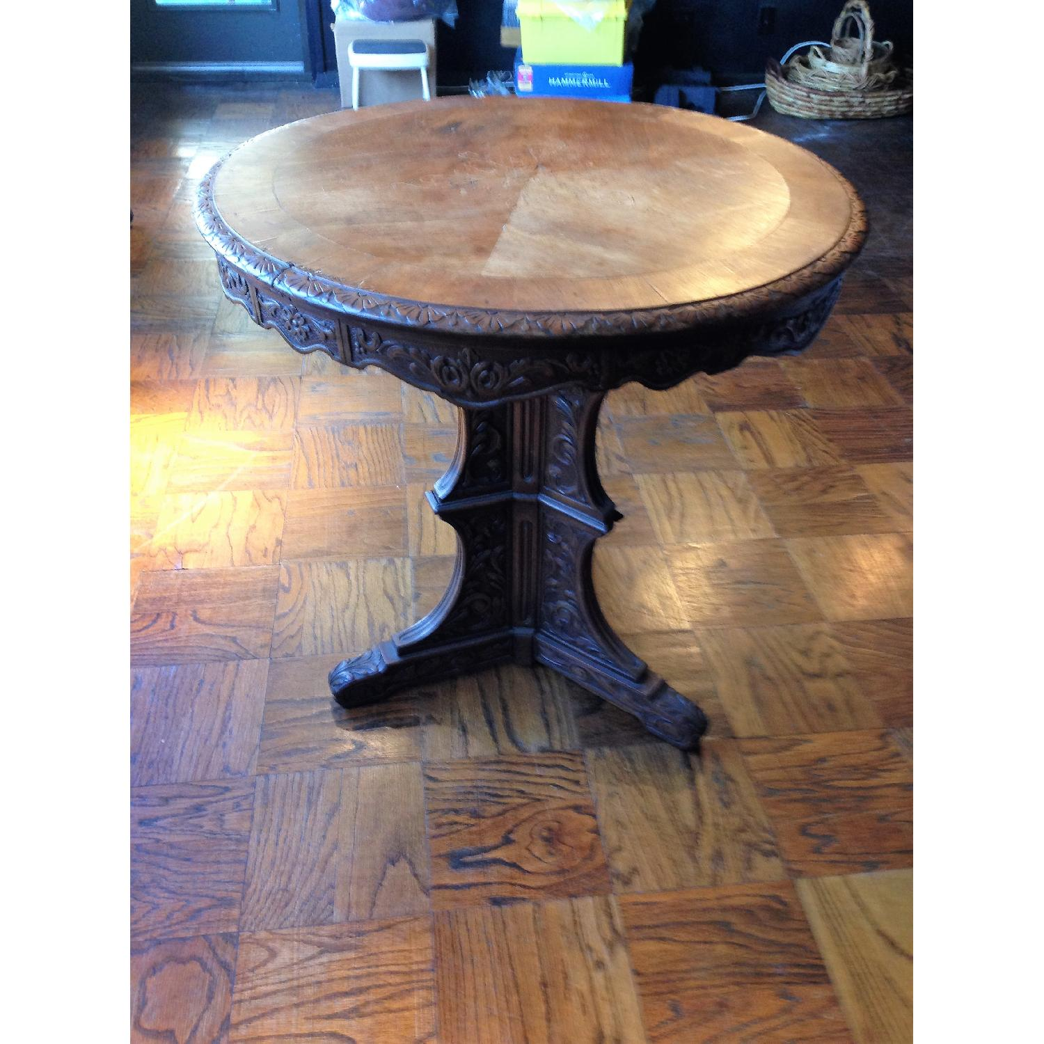 Italian Vintage Carved Wood Baroque Style Round Side Table - image-10