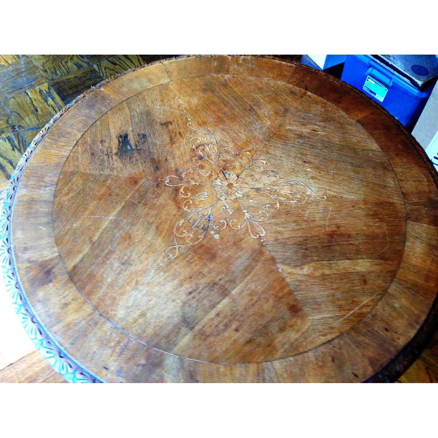 Italian Vintage Carved Wood Baroque Style Round Side Table - image-11