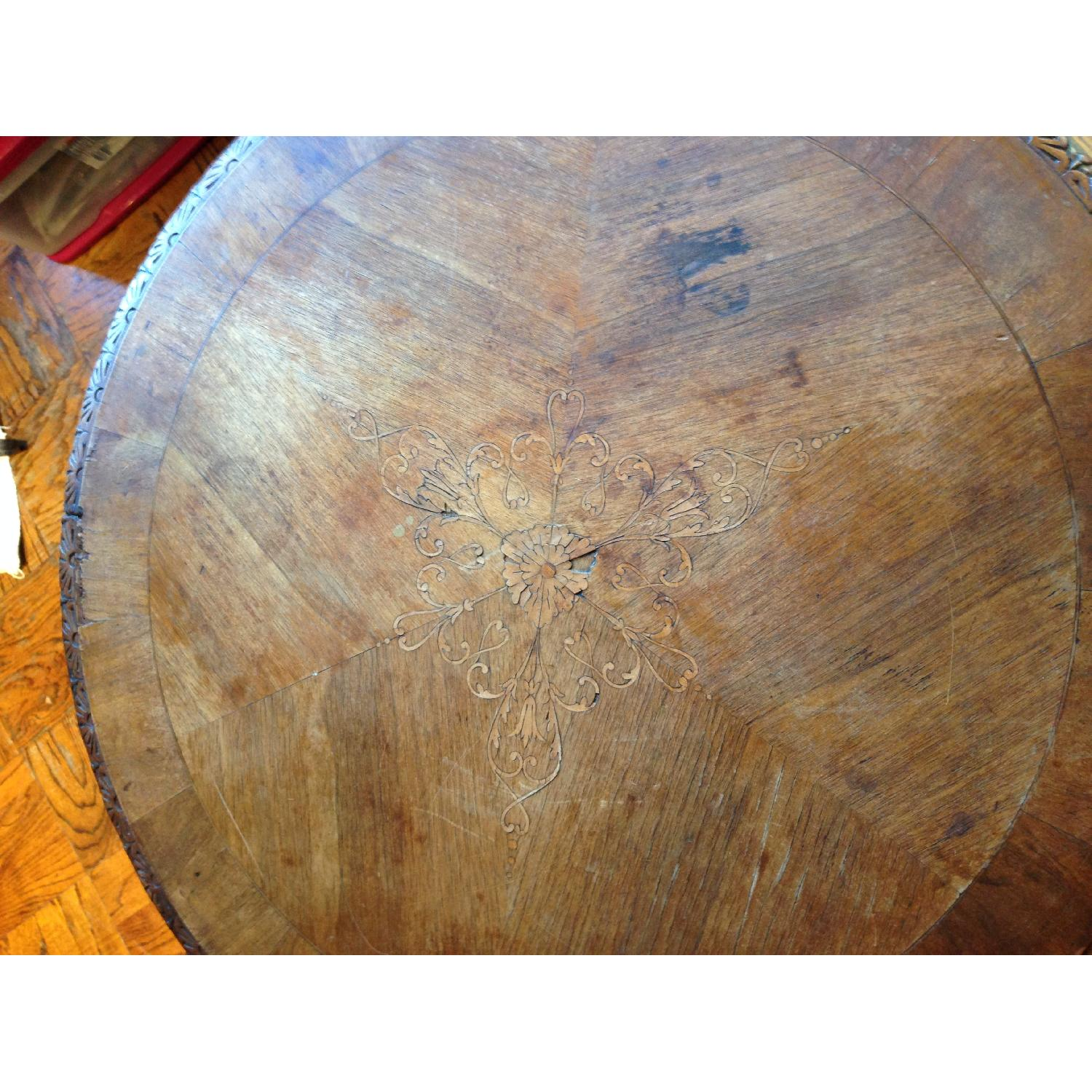 Italian Vintage Carved Wood Baroque Style Round Side Table - image-12