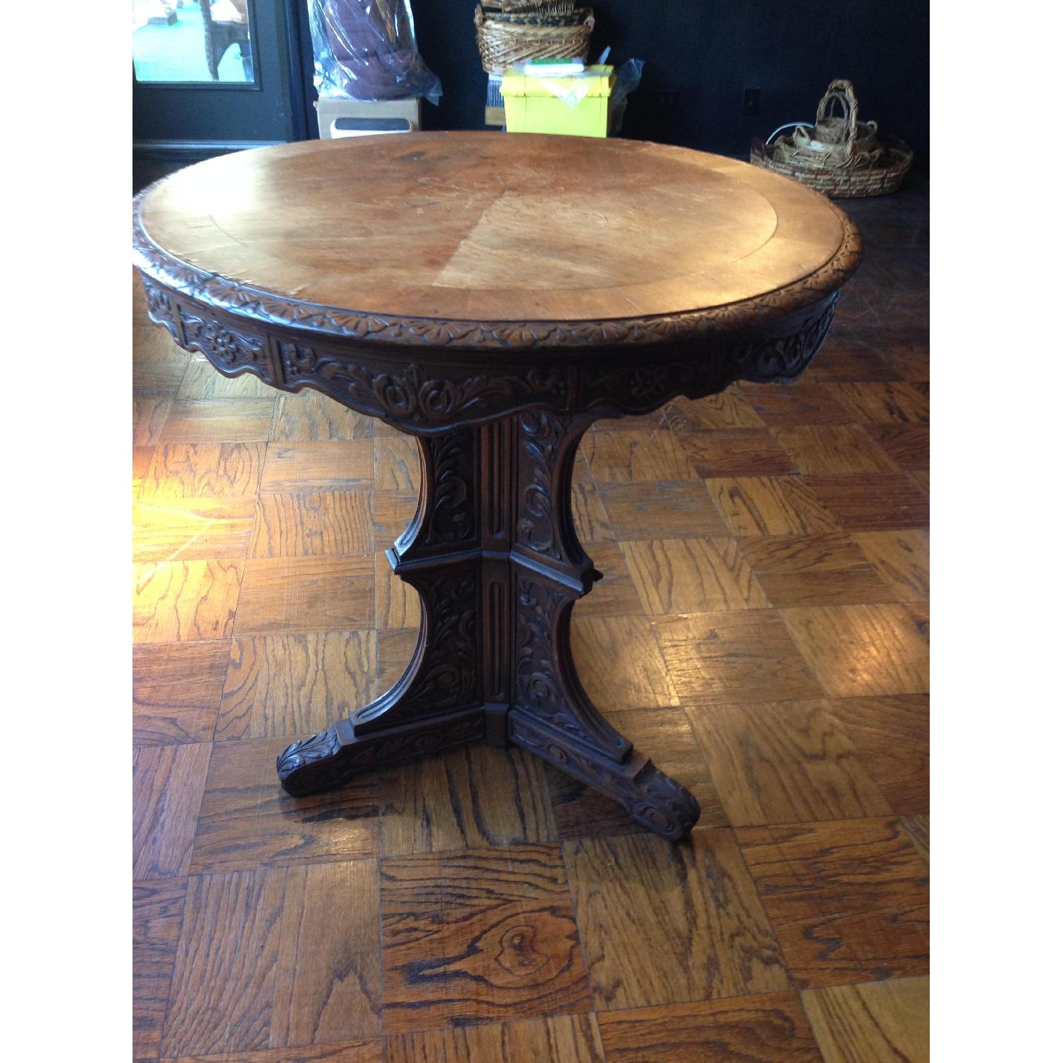 Italian Vintage Carved Wood Baroque Style Round Side Table - image-13