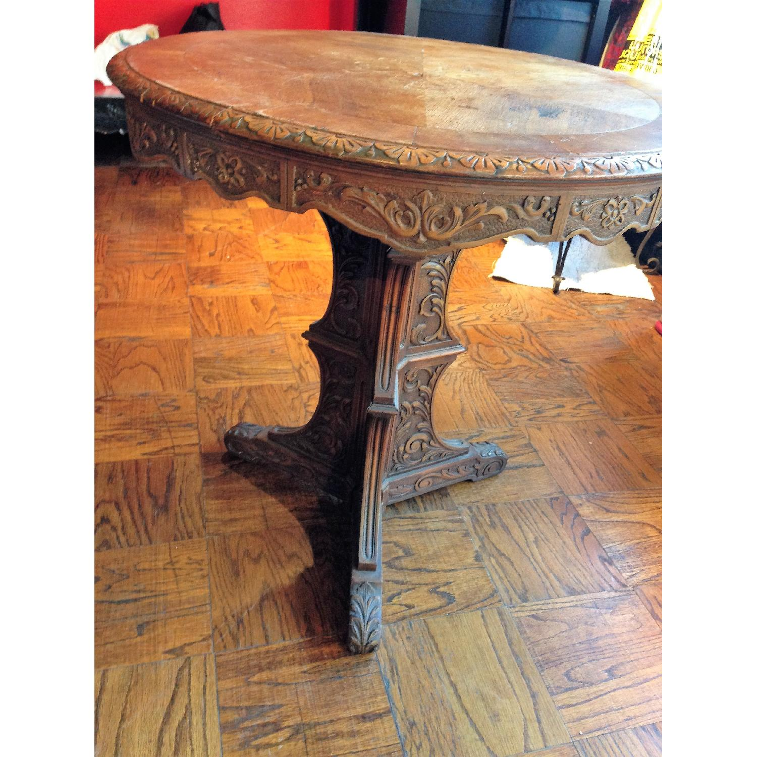 Italian Vintage Carved Wood Baroque Style Round Side Table - image-14