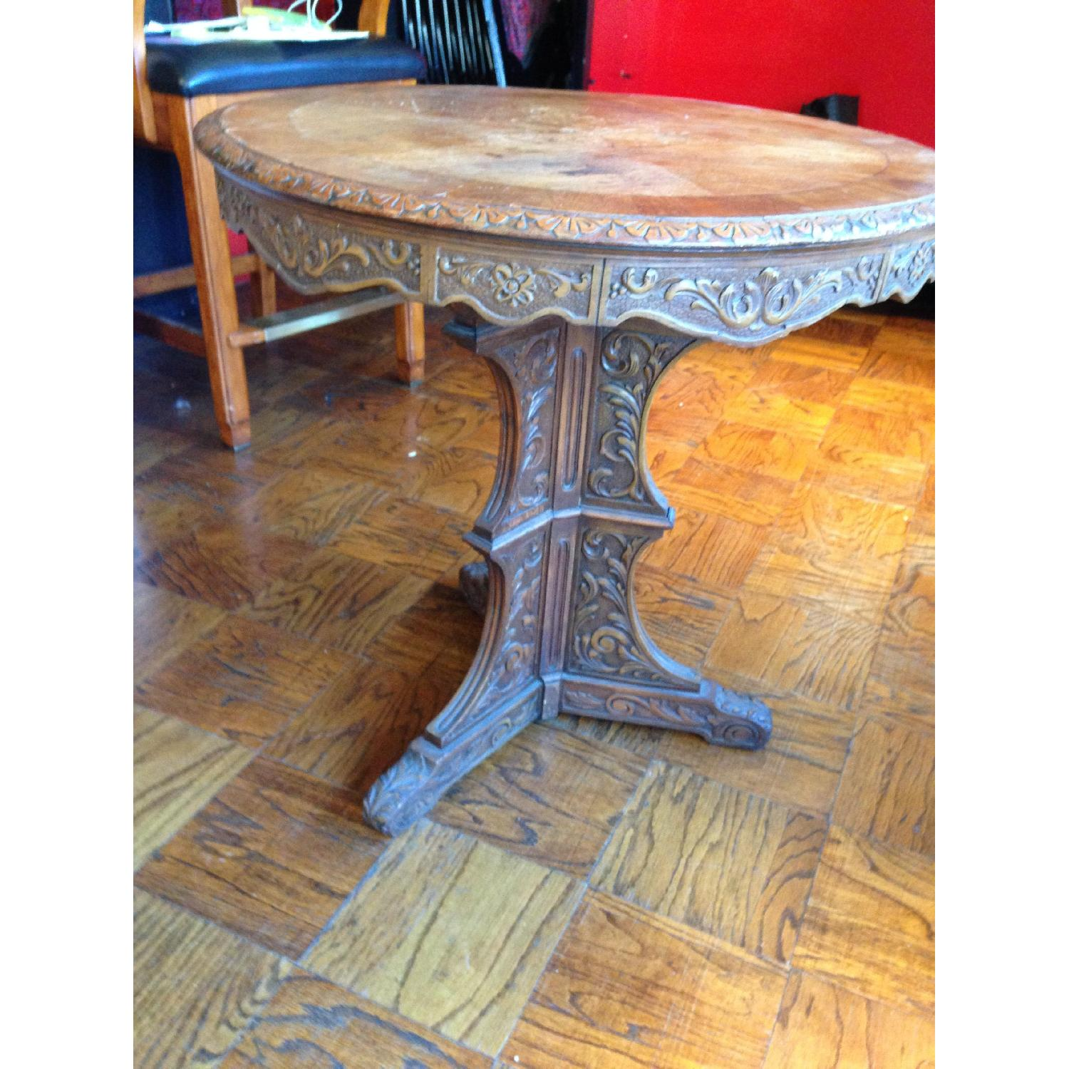 Italian Vintage Carved Wood Baroque Style Round Side Table - image-15