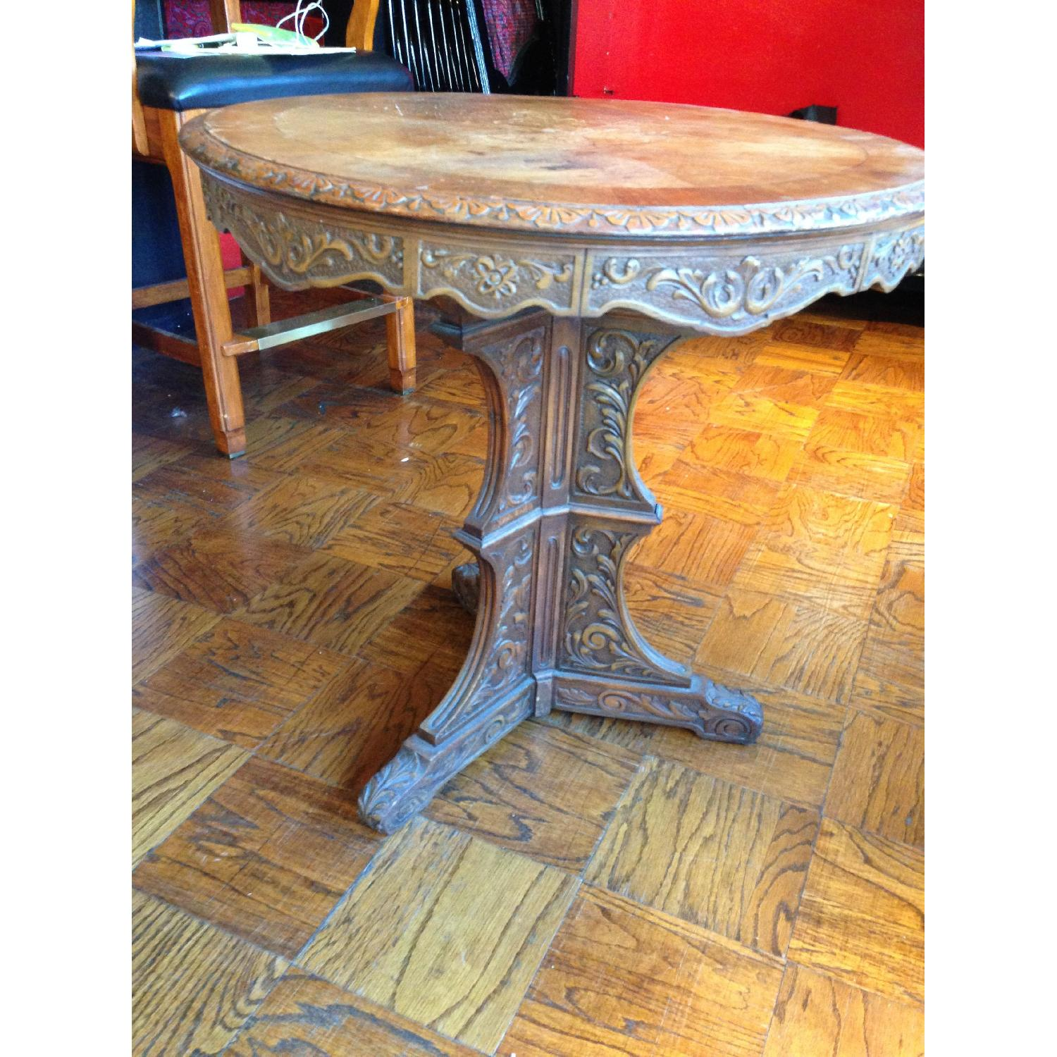 Italian Vintage Carved Wood Baroque Style Round Side Table - image-16