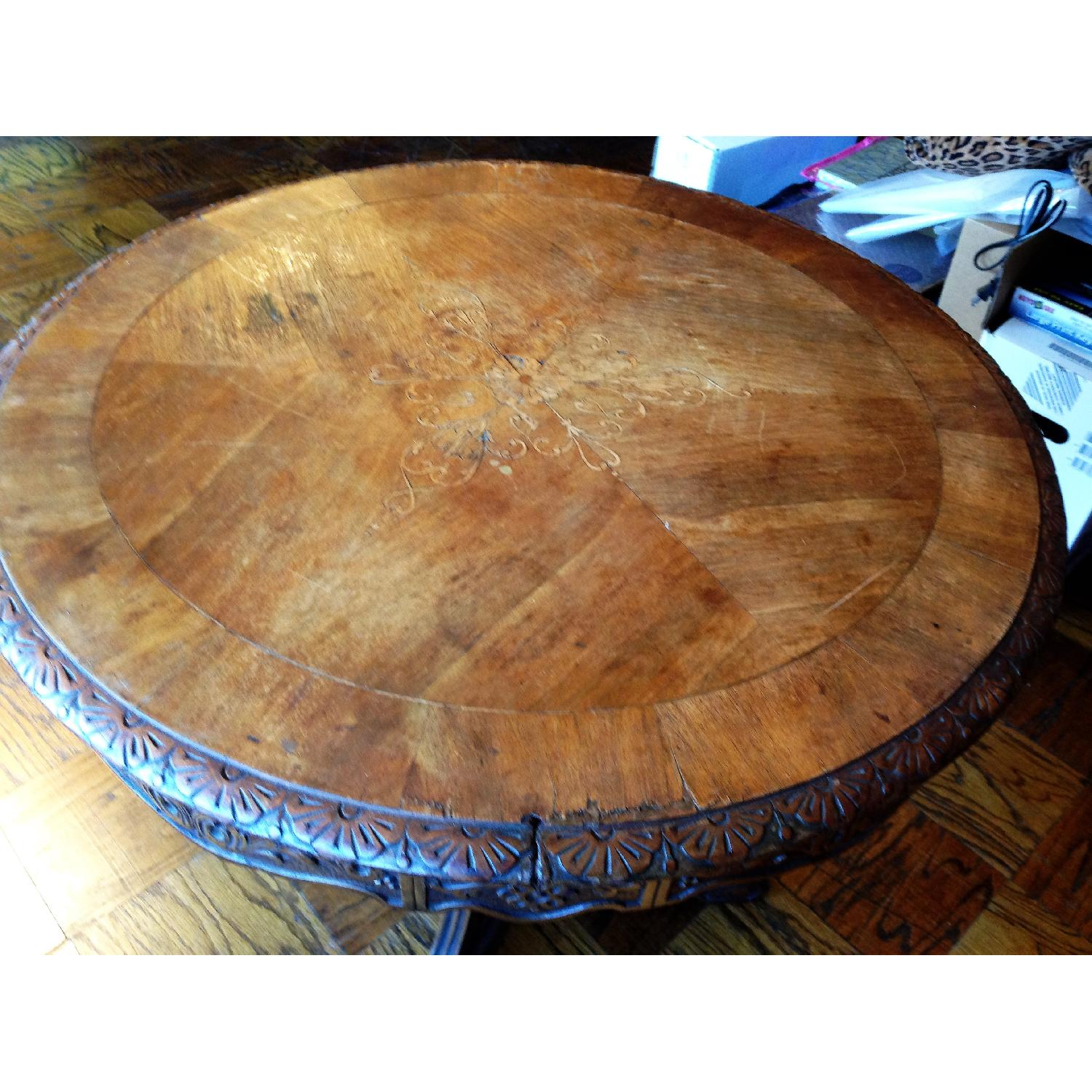 Italian Vintage Carved Wood Baroque Style Round Side Table - image-17