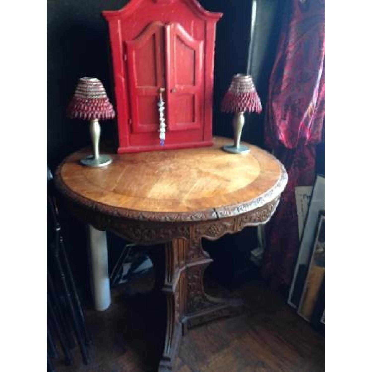 Italian Vintage Carved Wood Baroque Style Round Side Table - image-19