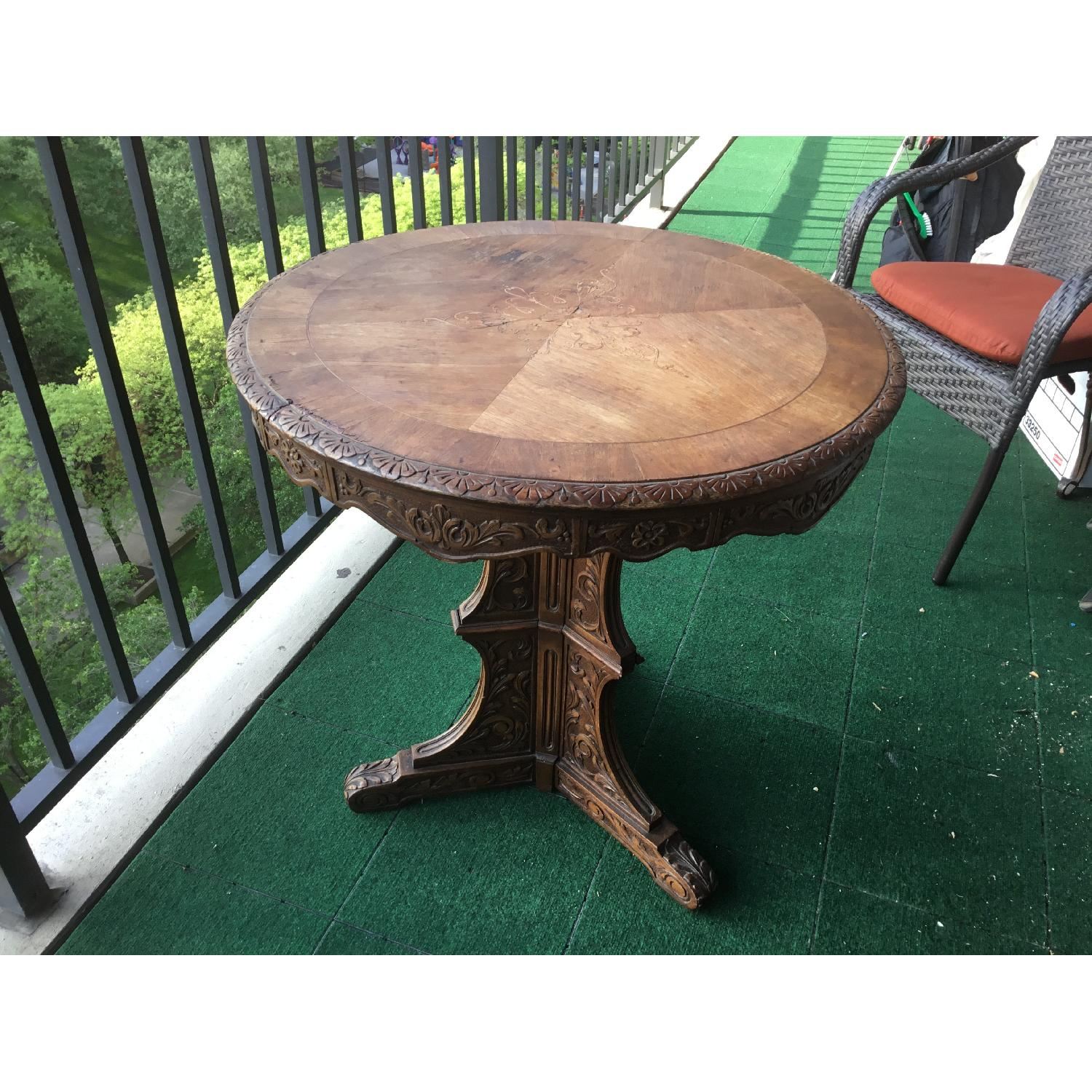 Italian Vintage Carved Wood Baroque Style Round Side Table - image-20