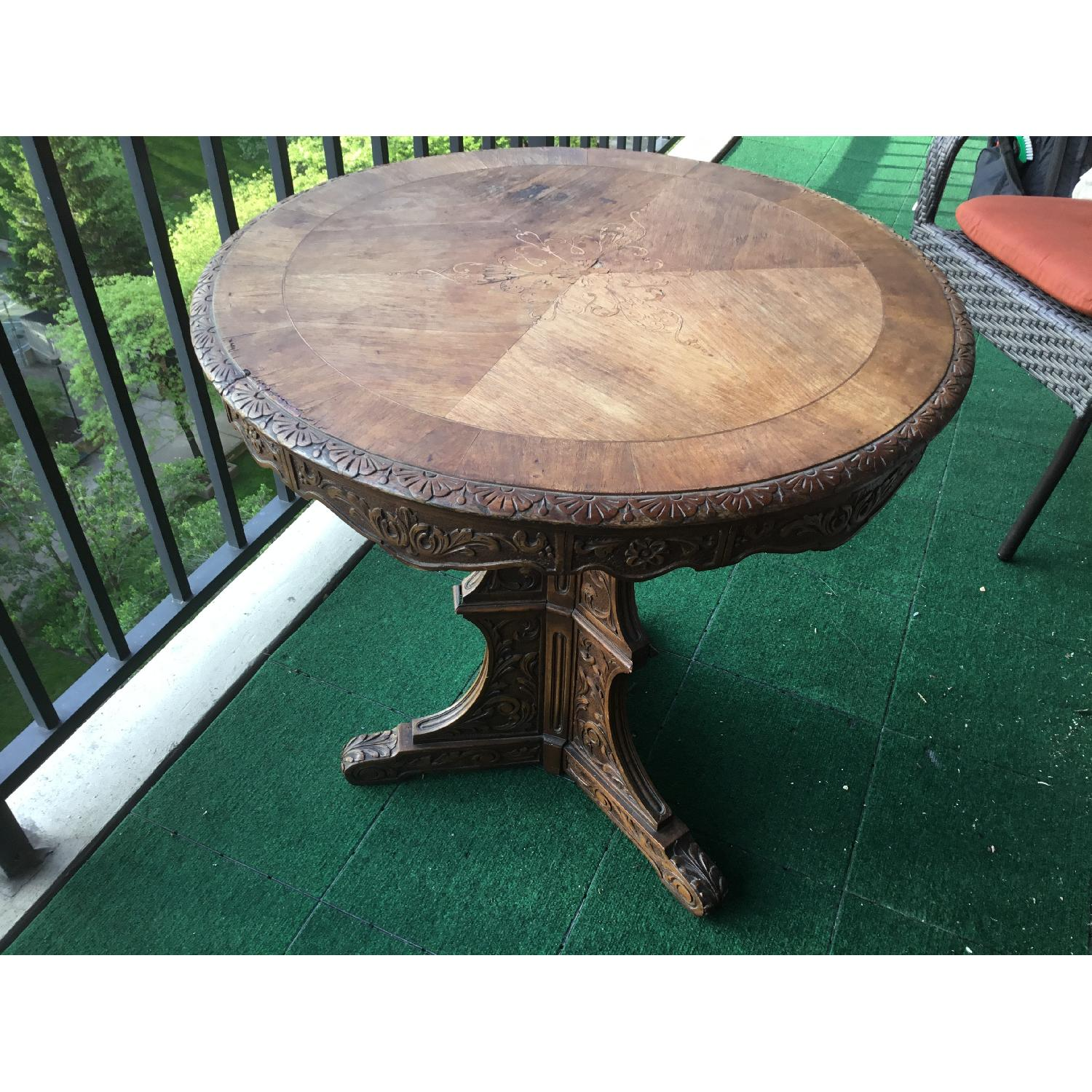 Italian Vintage Carved Wood Baroque Style Round Side Table - image-21