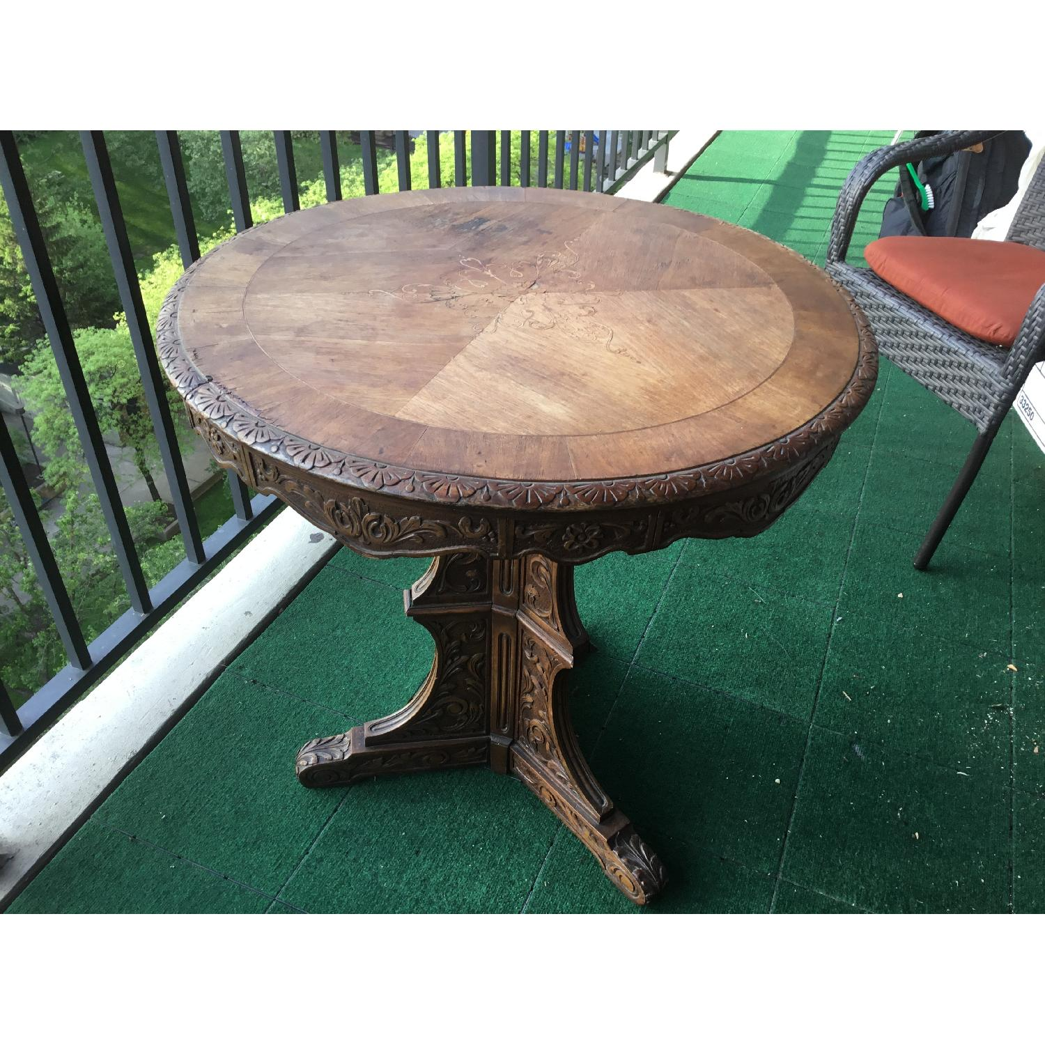 Italian Vintage Carved Wood Baroque Style Round Side Table - image-22