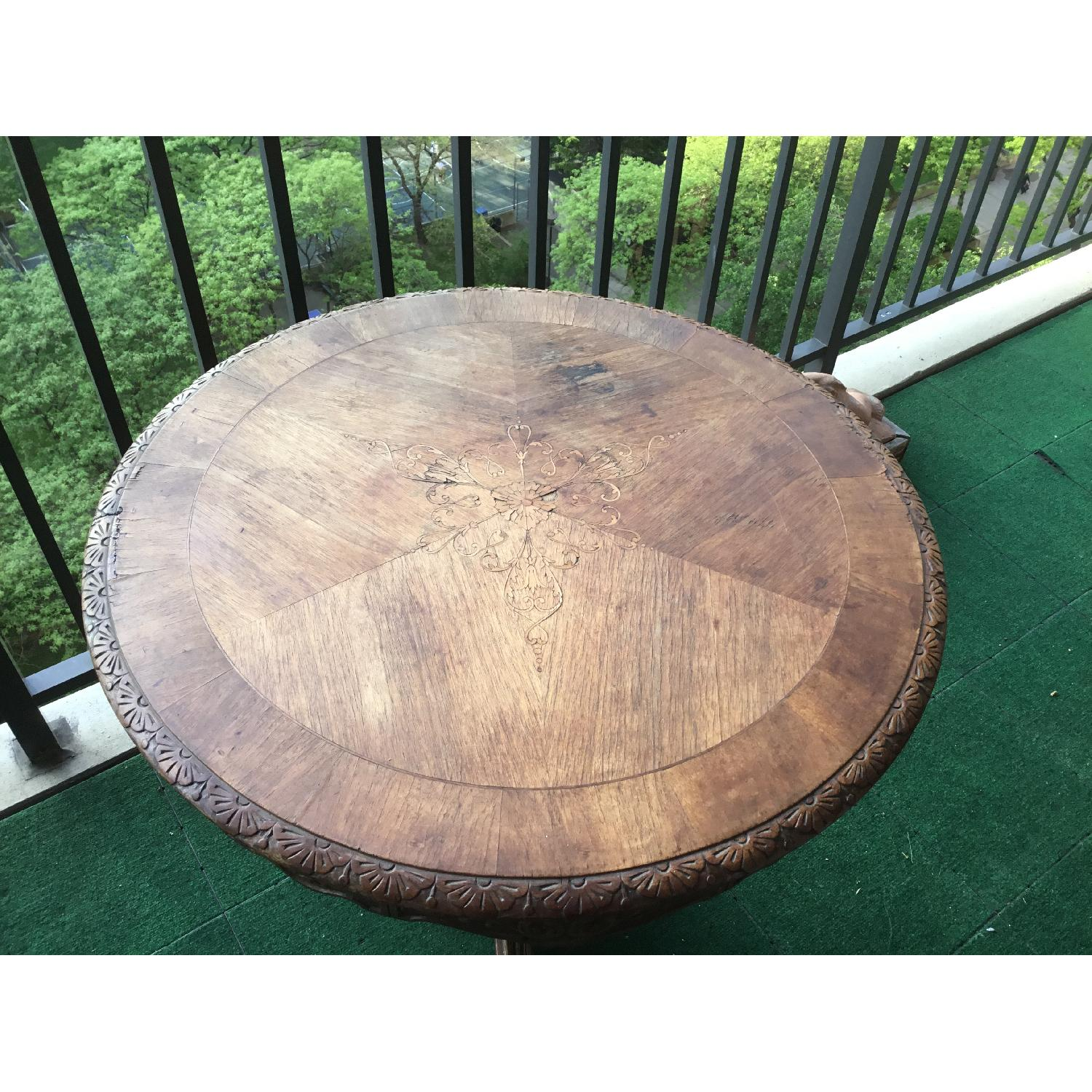 Italian Vintage Carved Wood Baroque Style Round Side Table - image-23