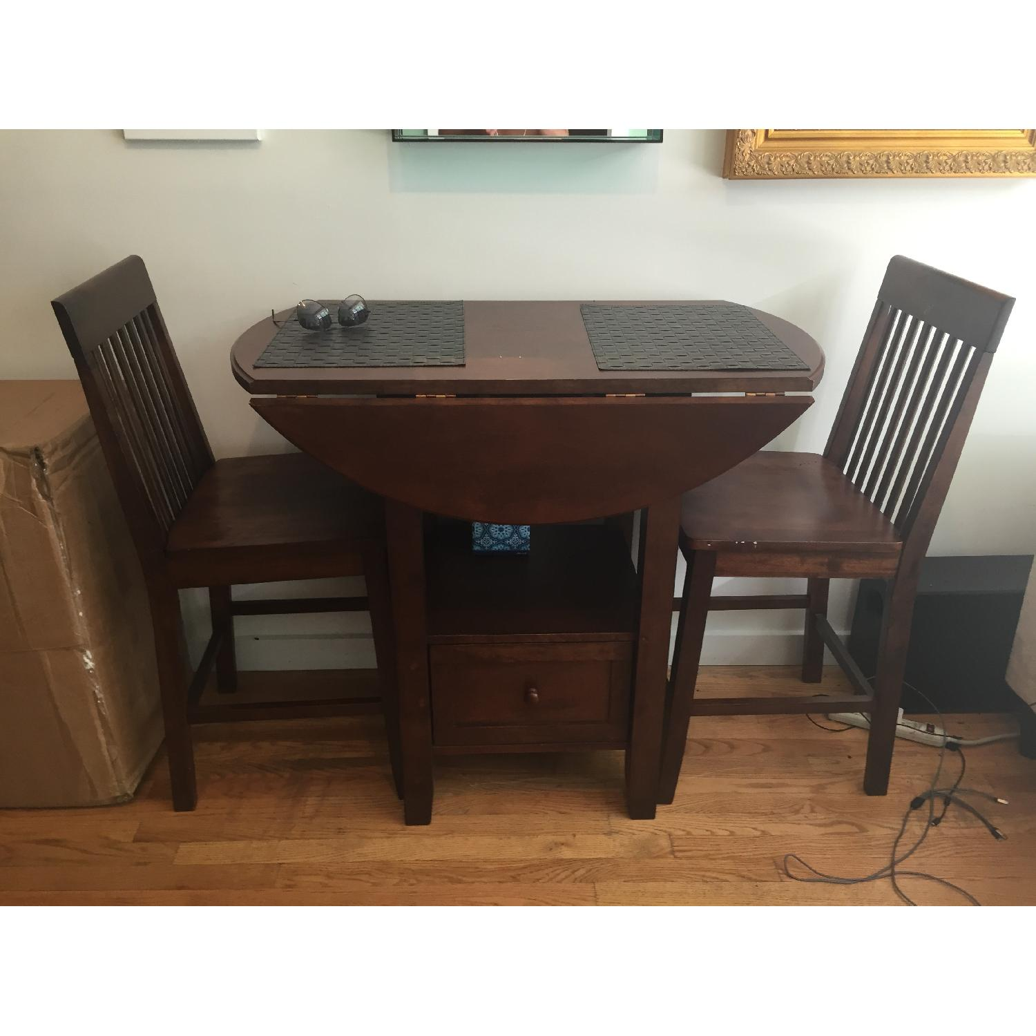 Threshold Wood High Top Table w/ 2 Chairs - image-3