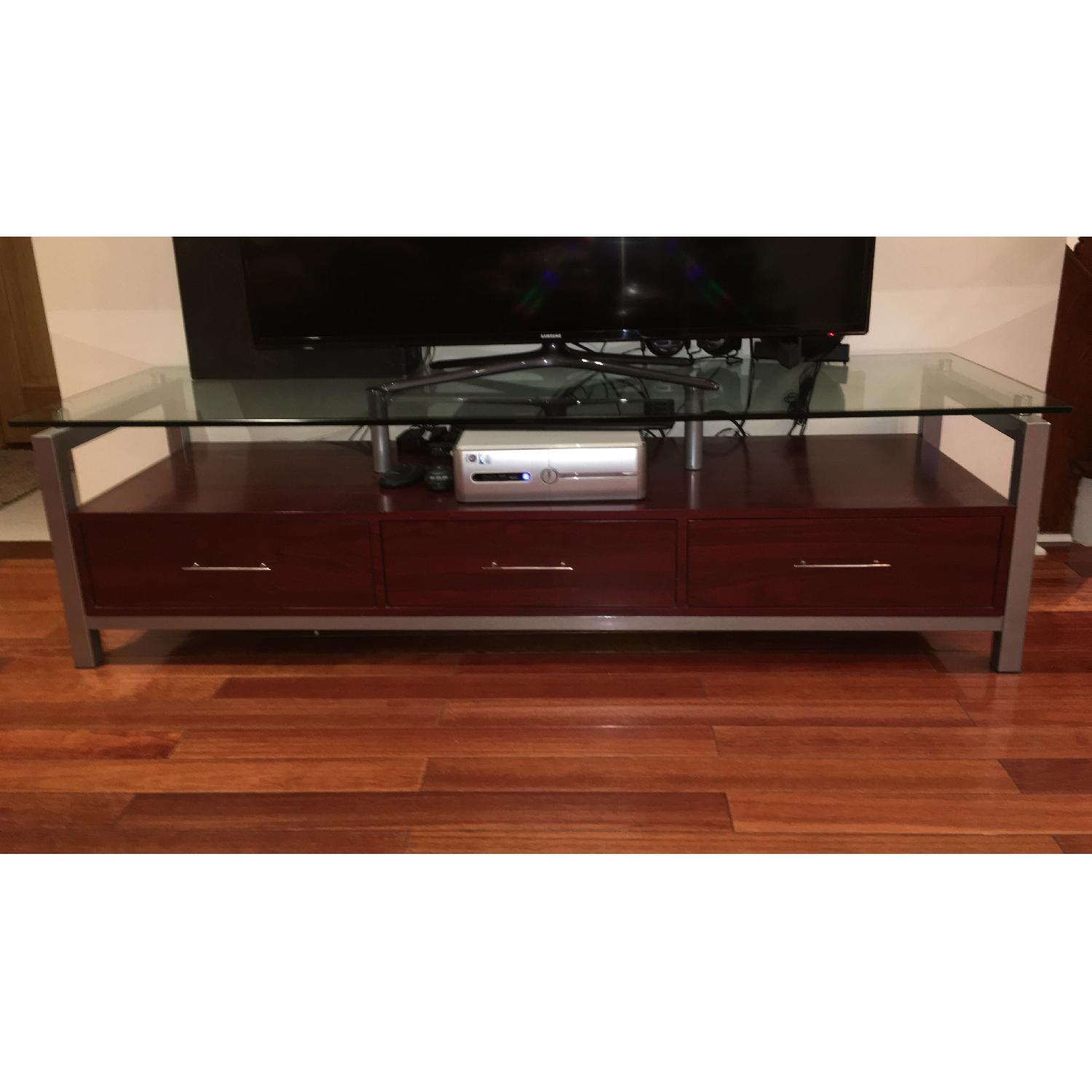 3 Drawer Wooden TV Stand w/ Metal & Glass Top - image-1