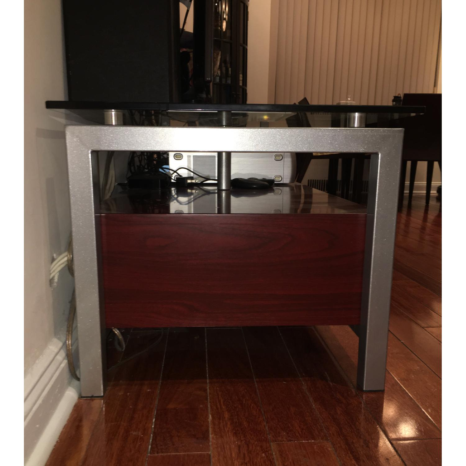 3 Drawer Wooden TV Stand w/ Metal & Glass Top - image-3