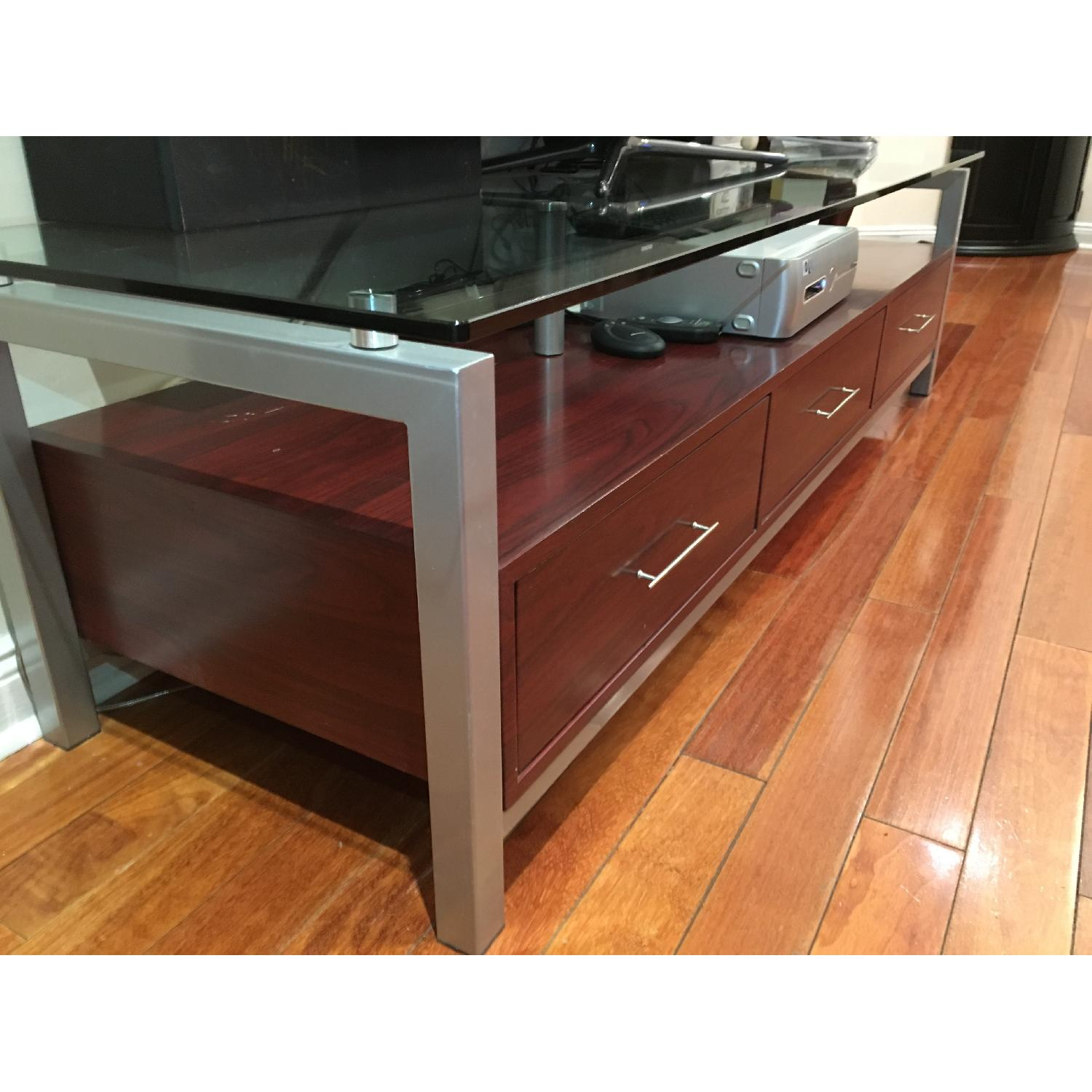 3 Drawer Wooden TV Stand w/ Metal & Glass Top - image-6