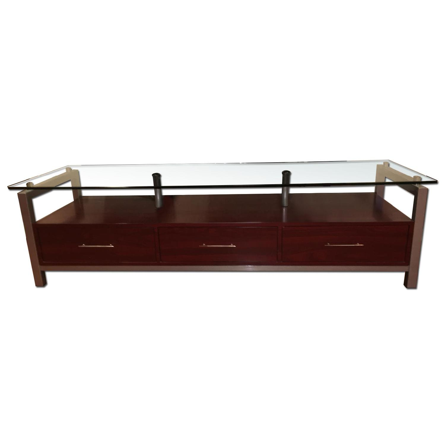 3 Drawer Wooden TV Stand w/ Metal & Glass Top - image-0