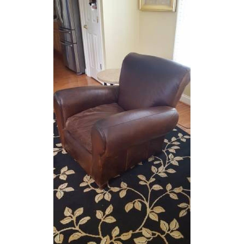 Pottery Barn Manhattan Leather Armchair - image-4