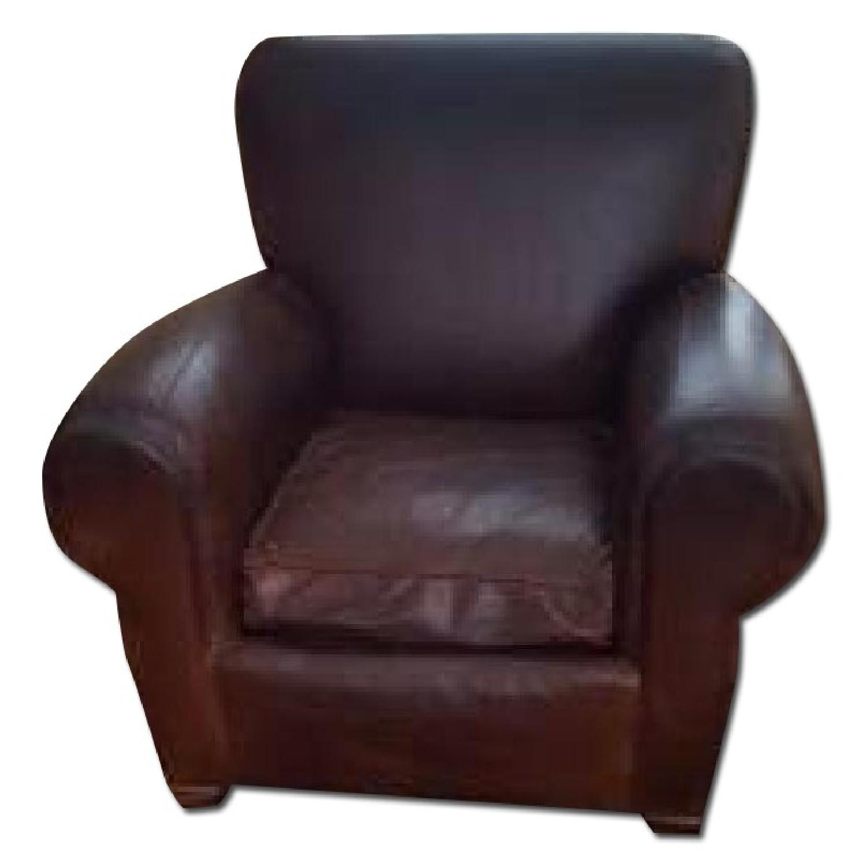 Pottery Barn Manhattan Leather Armchair - image-0