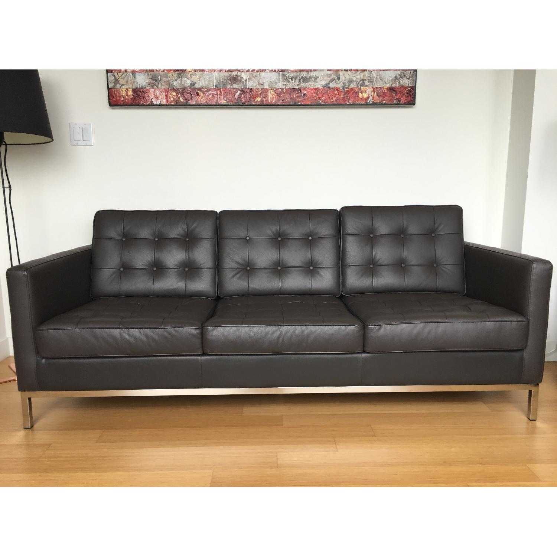 Leipzig Brown Leather Sofa - image-1