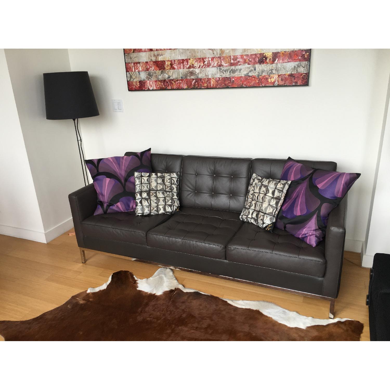 Leipzig Brown Leather Sofa - image-5