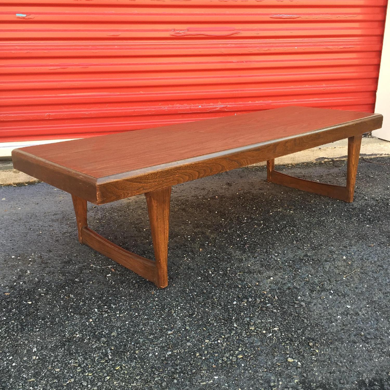 Mid Century Modern Long Walnut Coffee Table - image-3