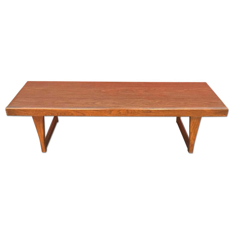 Mid Century Modern Long Walnut Coffee Table - image-0