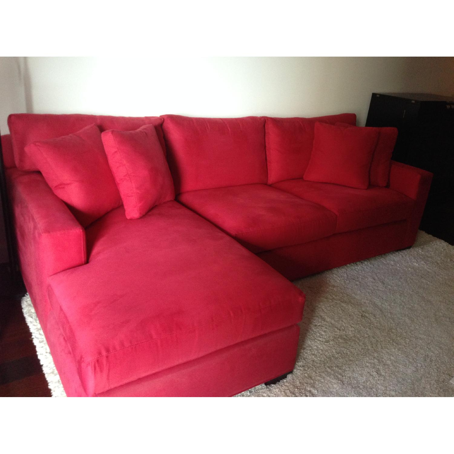 Crate & Barrel Red 2-Piece Sectional Sofa - image-2