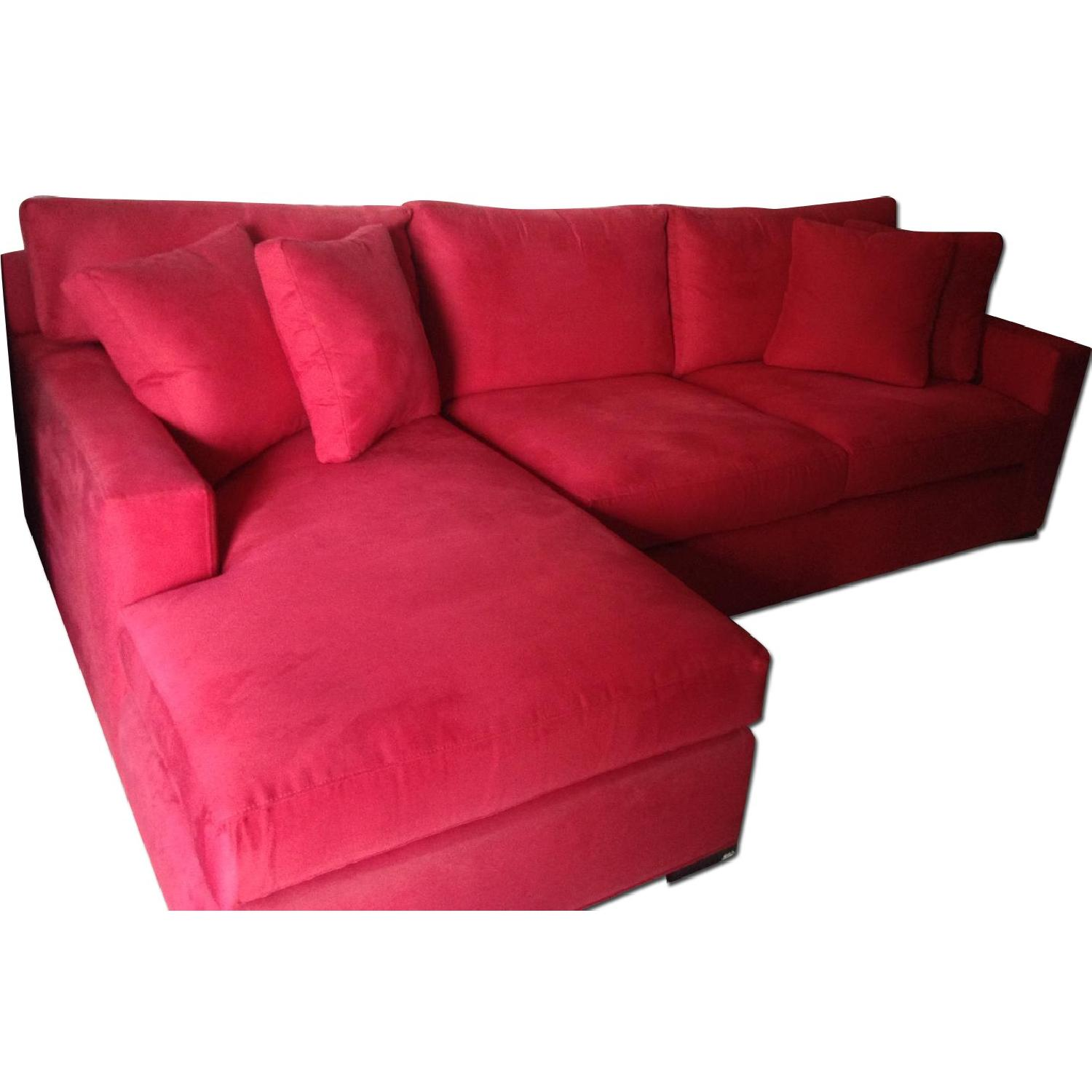 Crate & Barrel Red 2-Piece Sectional Sofa - image-0