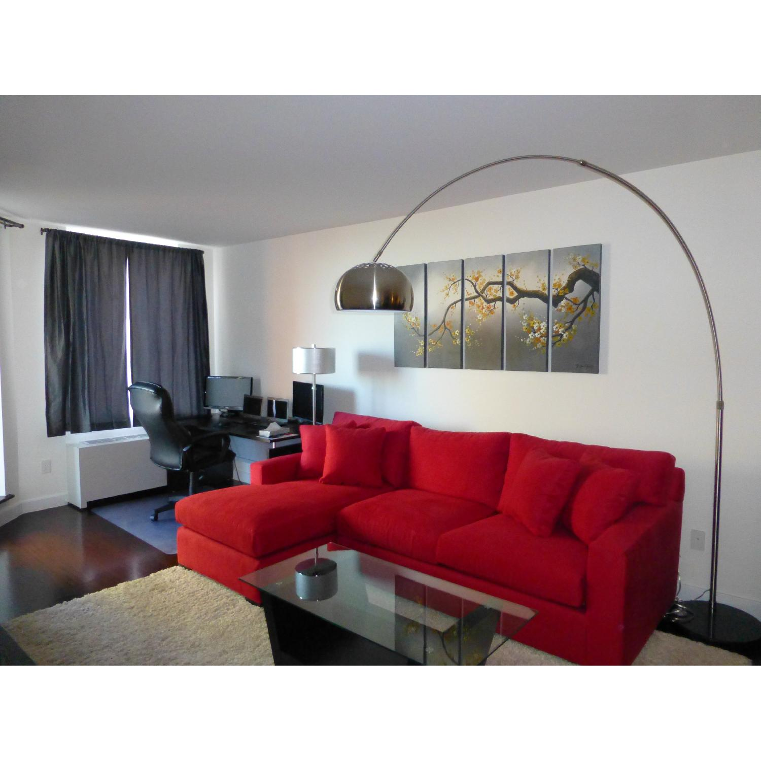 Crate & Barrel Red 2-Piece Sectional Sofa - image-3