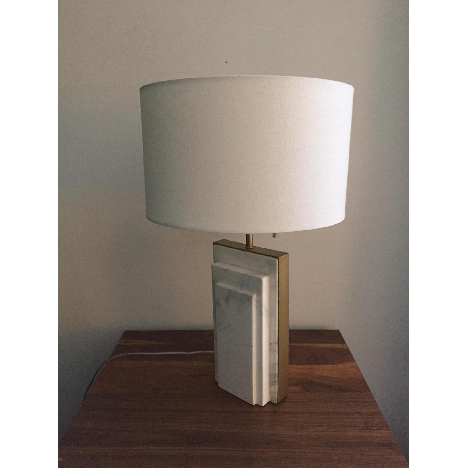 West Elm Deco Style Marble & Brass Table Lamp - image-1