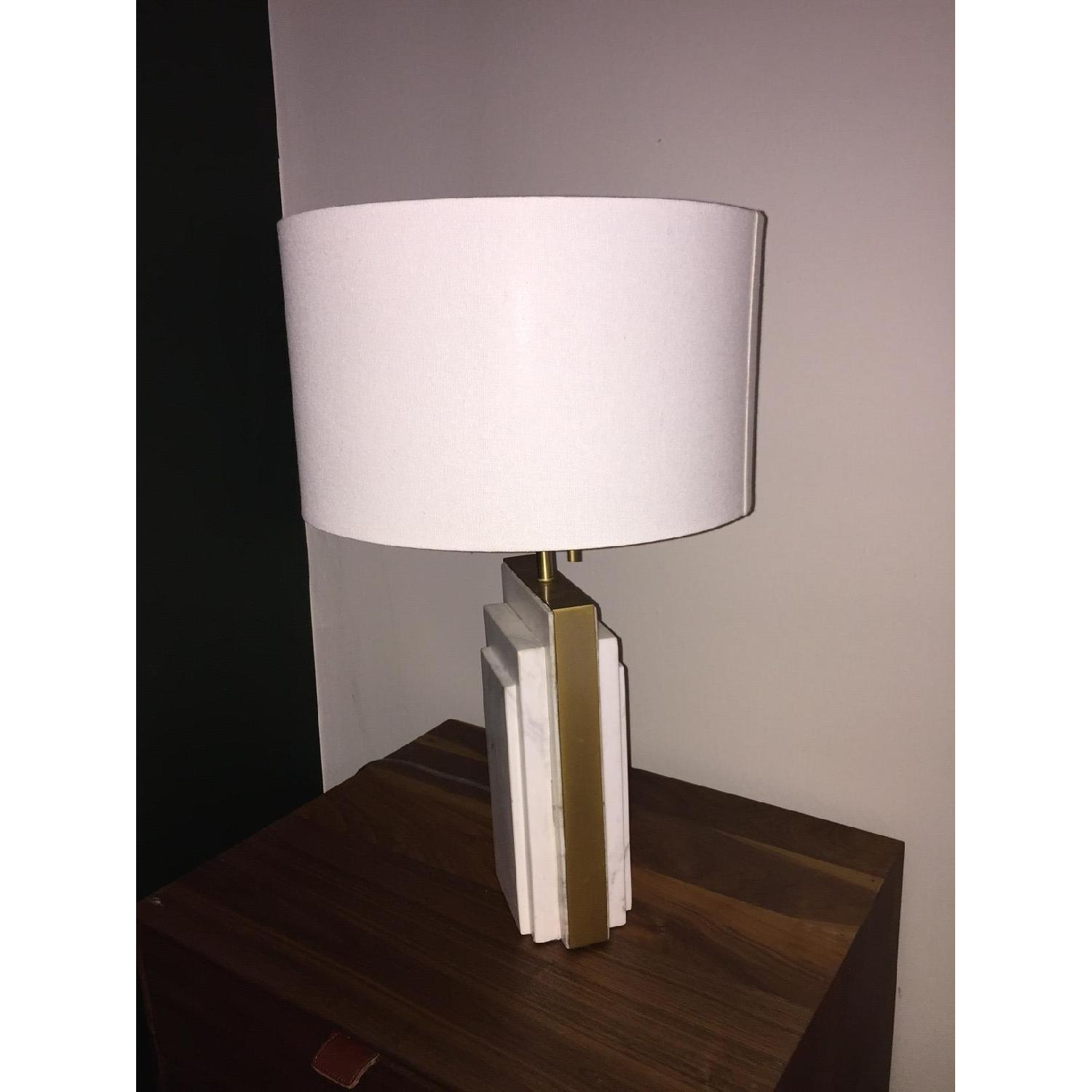 West Elm Deco Style Marble & Brass Table Lamp - image-2