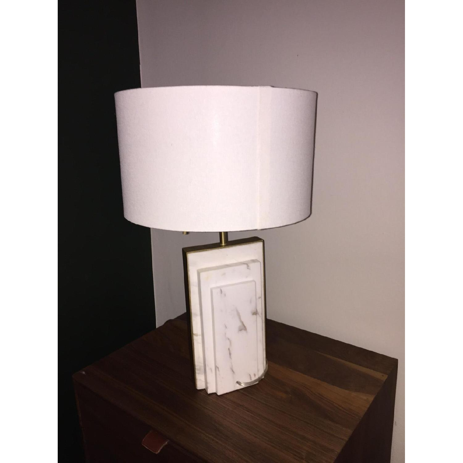 West Elm Deco Style Marble & Brass Table Lamp - image-3