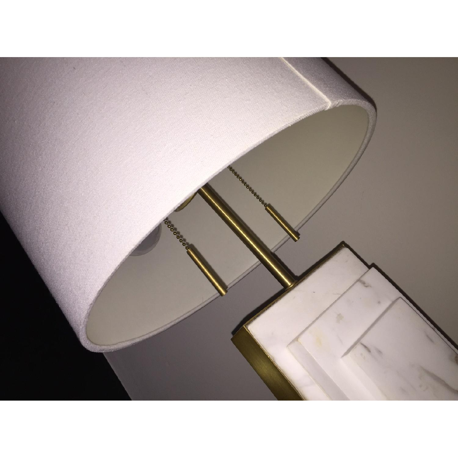 West Elm Deco Style Marble & Brass Table Lamp - image-4