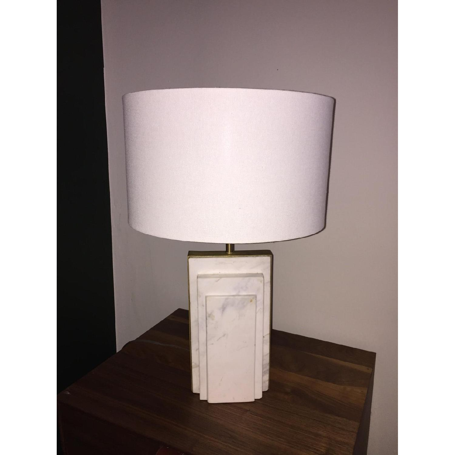 West Elm Deco Style Marble & Brass Table Lamp - image-5