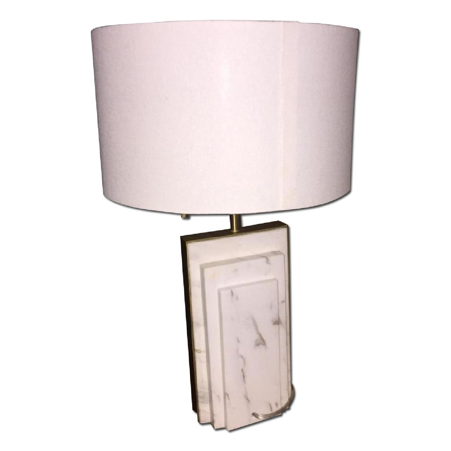 West Elm Deco Style Marble & Brass Table Lamp - image-0