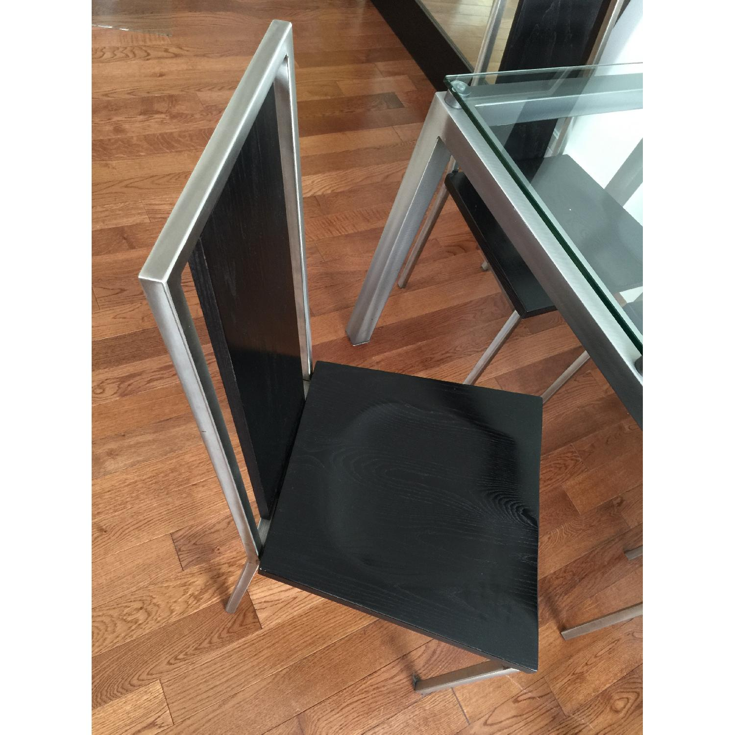 Glass Top/Stainless Base Parsons Table w/ 4 Black Ash Wood Chairs - image-2