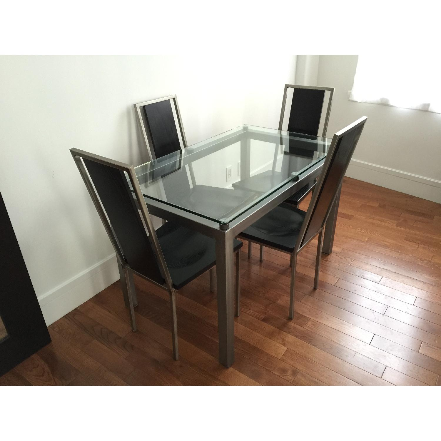 Glass Top/Stainless Base Parsons Table w/ 4 Black Ash Wood Chairs - image-3