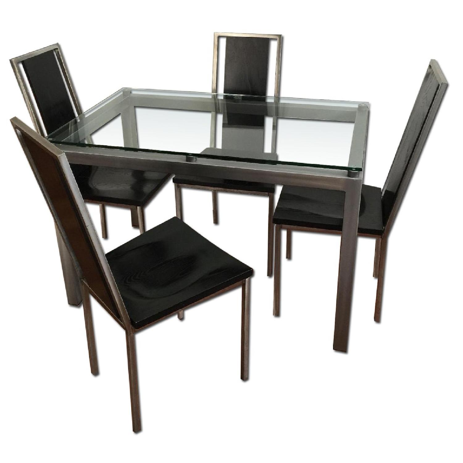 Glass Top/Stainless Base Parsons Table w/ 4 Black Ash Wood Chairs - image-0