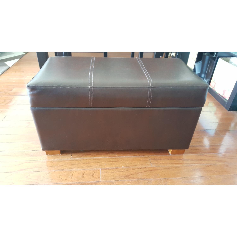 Faux Leather Storage Ottoman - image-1