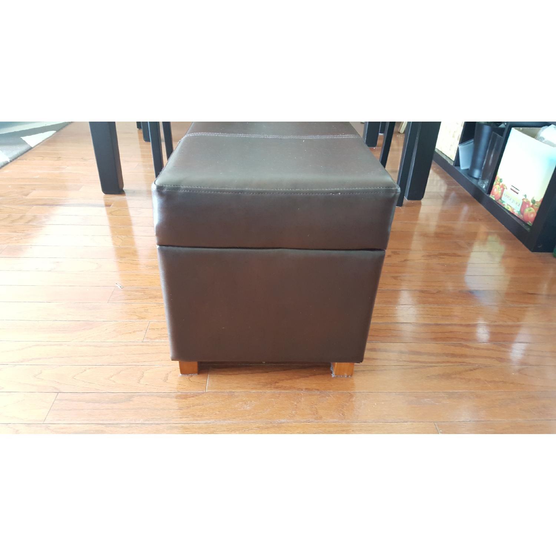 Faux Leather Storage Ottoman - image-4