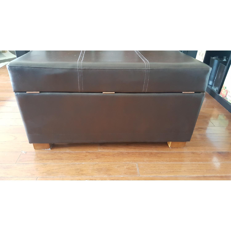 Faux Leather Storage Ottoman - image-5