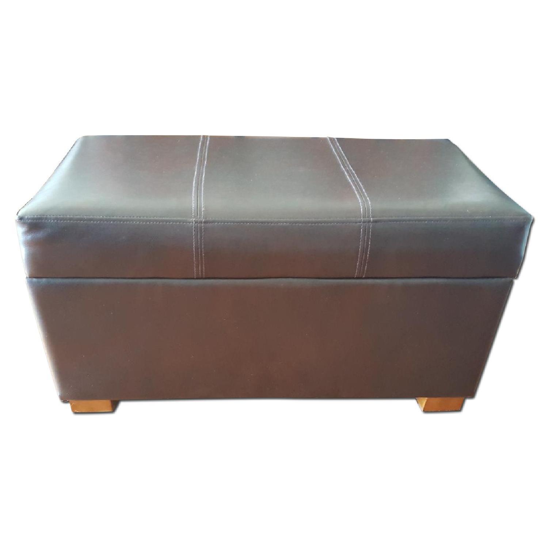 Faux Leather Storage Ottoman - image-0