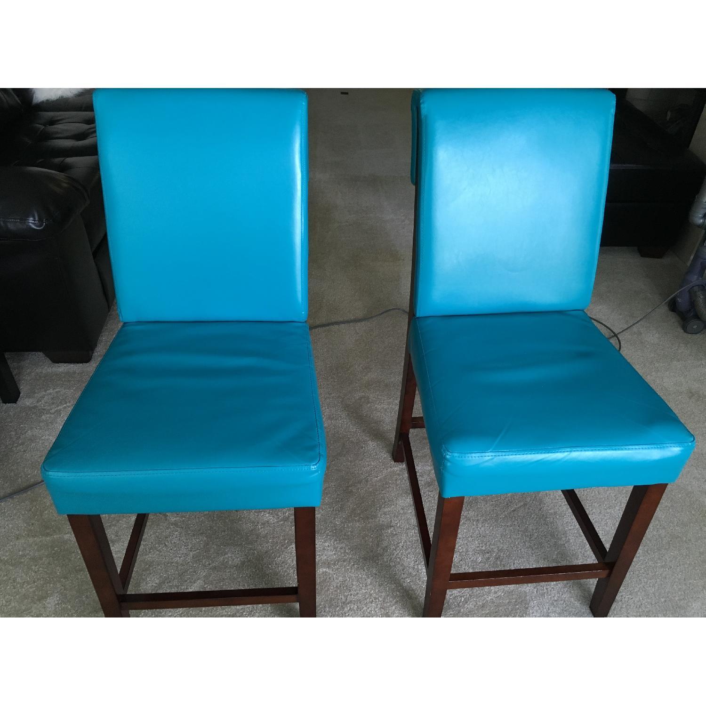 Bassett Teal Leather Wood Barstools - image-1
