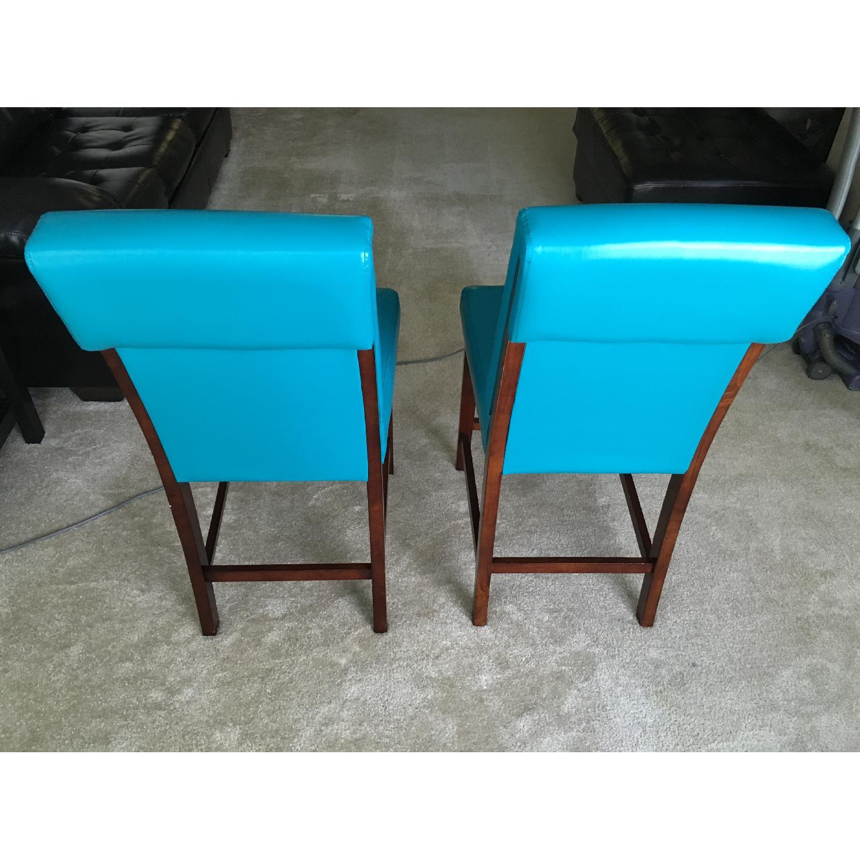 Bassett Teal Leather Wood Barstools - image-2