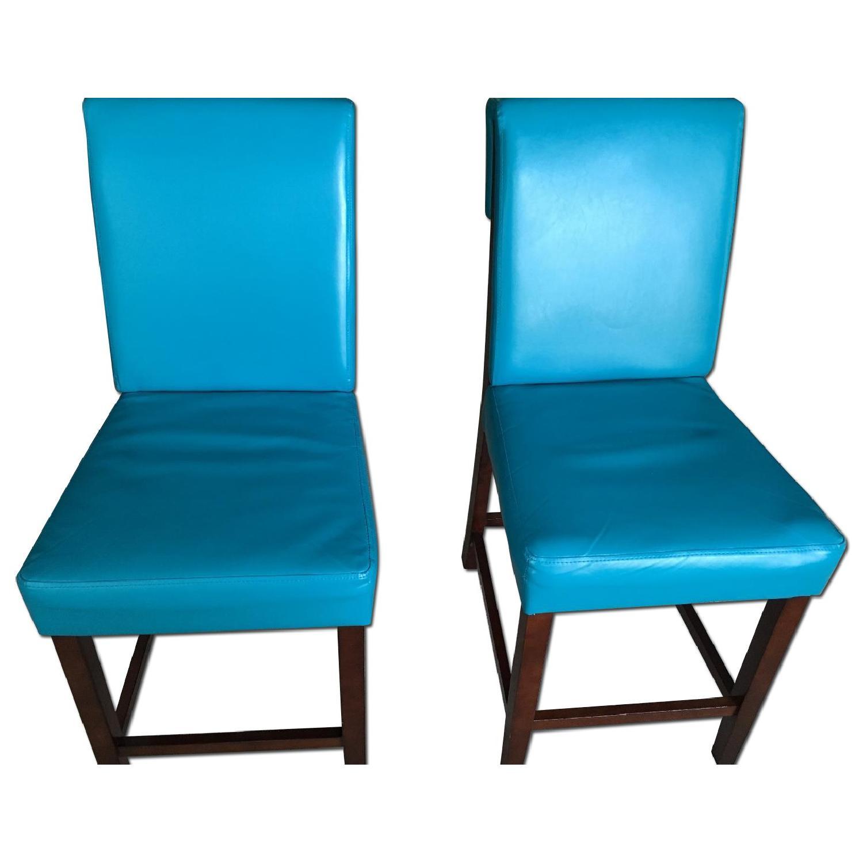Bassett Teal Leather Wood Barstools - image-0